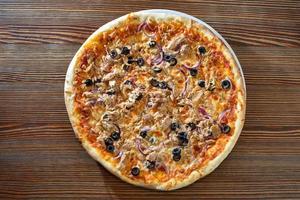 Draufsicht auf Pizza foto