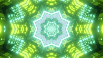 grüne, gelbe, blaue und weiße Lichter und Formen Kaleidoskop 3d Illustration für Hintergrund oder Tapete