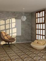 3D-Rendering des leeren Plakats im modernen Wohnzimmer foto