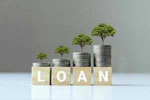 wachsende Pflanze auf Münzstapel und Holzschnitt mit Darlehenstext, Finanzierungsideen und Kreditwachstum
