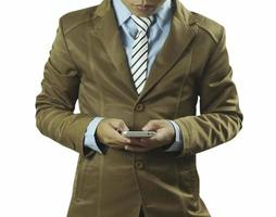 Geschäftsmann mit Telefon lokalisiert auf weißem Hintergrund foto
