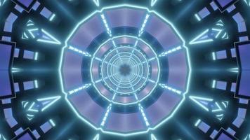 blaue und lila 3D-Tunnelkaleidoskop-Designillustration für Hintergrund oder Tapete