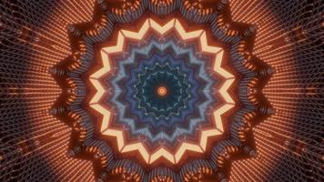 blaue und orange 3D-Tunnelkaleidoskop-Designillustration für Hintergrund oder Tapete foto