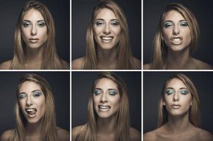 Sechs Porträts einer sexy jungen Frau in verschiedenen Ausdrucksformen