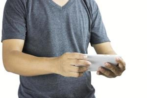 Mann mit Telefon auf weißem Hintergrund
