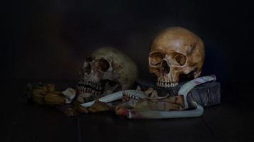 zwei Schädel mit getrockneten Blumen auf dunklem Hintergrund foto