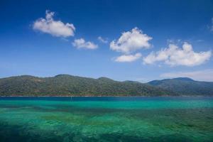 blaues Wasser mit Bergen und flauschigen weißen Wolken