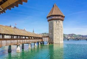 Kapellenbrücke und Luzerner See in Luzern, Schweiz