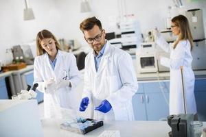 Gruppe junger Forscher, die chemische Daten im Labor analysieren foto