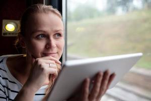 Frau hält eine Tablette in einem Zug foto