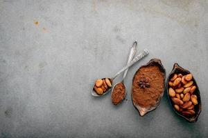 Kakaopulver und Kakaobohnen auf Beton foto