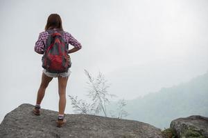 Rückseite des Wanderers mit Rucksäcken, die auf einem Berg stehen und Naturblick genießen foto