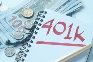 Notizblock mit Wort 401k auf weißem Hintergrund, Nahaufnahme