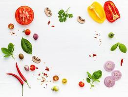 Rahmen der Zutaten für Pizza