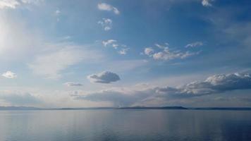 Seelandschaft des Gewässers mit bewölktem blauem Himmel
