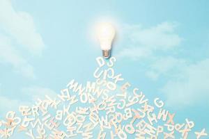 Ideenkonzept, Glühbirne mit Buchstaben