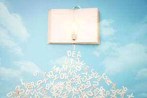 Glühbirne mit Buchstaben in einem Notizbuch