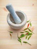 frische Chilis mit Mörser und Pistill