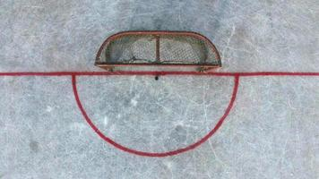 Hockeytore vor dem Spiel, Draufsicht foto