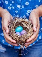 Person, die ein Nest von Eiern hält foto