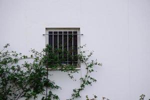 Fenster an der weißen Fassade des Hauses in Bilbao, Spanien foto