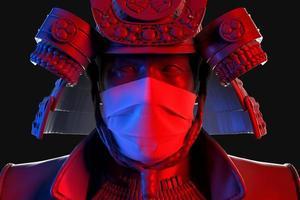 Nahaufnahme 3d Porträt des Samurai, der medizinische Schutzmaske trägt foto