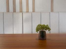 Tisch mit freiem Raum mit grüner Pflanze
