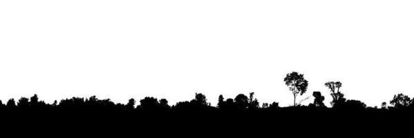 Landschaftssilhouette der Bäume auf lokalisiertem weißem Hintergrund foto