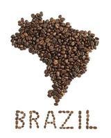 Karte von Burundi aus gerösteten Kaffeebohnen lokalisiert auf weißem Hintergrund