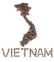Karte von Vietnam aus gerösteten Kaffeebohnen isoliert auf weißem Hintergrund foto