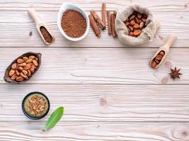 Kakaobohnen- und Pulverkonzept foto
