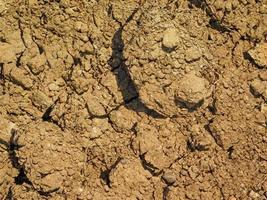 Fleck trockener und rissiger Erde für Hintergrund oder Textur foto