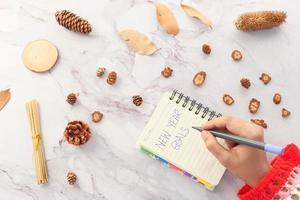 Frauenhand, die Neujahrsziele auf Papier schreibt foto