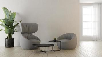 Innenraum eines modernen Wohnzimmers in einem 3D-Rendering foto