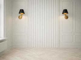 Innenraum eines leeren modernen Wohnzimmers im 3D-Rendering foto
