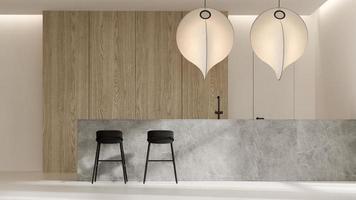 minimalistischer Innenraum eines modernen Wohnzimmers im 3D-Rendering foto