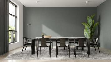 minimalistischer Innenraum eines modernen Wohnzimmers in der 3D-Illustration foto