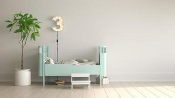 Innenraum eines modernen Schlafzimmers im 3D-Rendering foto
