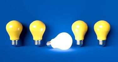 Glühbirnen-Ideenkonzept auf Hintergrund, 3D-Renderillustration foto