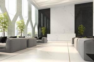 Innenraum eines Hotel- und Spa-Empfangs in der 3D-Illustration
