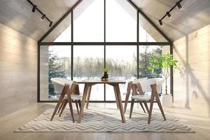 ein inneres Wohnzimmer eines Waldhauses in der 3D-Illustration foto