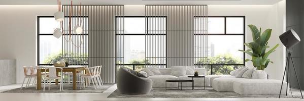 minimalistischer Innenraum eines modernen Wohnzimmers im 3D-Rendering