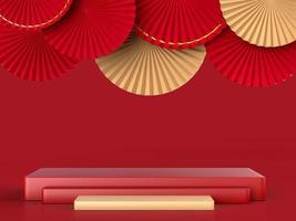 abstraktes Papierfächermedaillon mit Podium auf Hintergrund