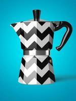 Weinlesekaffeekanne lokalisiert auf einem blauen Hintergrund in der 3D-Darstellung foto