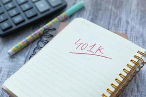 Notizblock mit Wort 401k