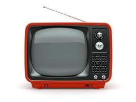 roter Retrofernseher lokalisiert auf weißem Hintergrund foto