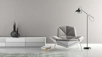 Teil eines Innenraums mit einem modernen grauen Sessel in der 3D-Darstellung
