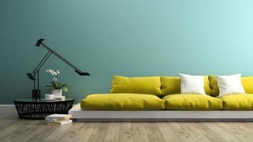Teil eines Innenraums mit einem modernen gelben Sofa im 3D-Rendering foto