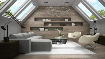Innenraum eines stilvollen Mansardenraums im 3D-Rendering