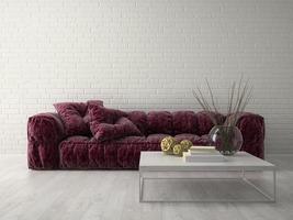 moderner Designraum des Innenraums in der 3D-Wiedergabe foto